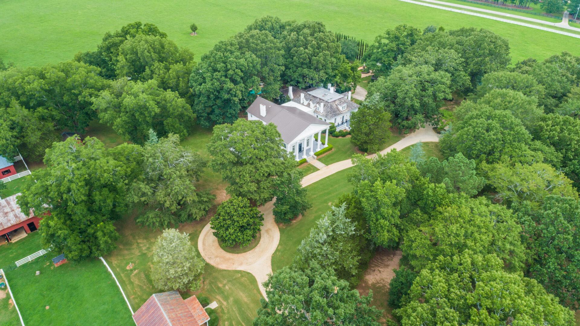 Aerial view of events venue at Serenata Farm in Madison, GA