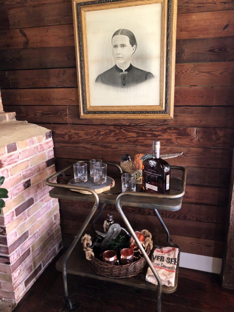 tea, coffee, bar cart at events venue, Serenata Farm in Madison, GA