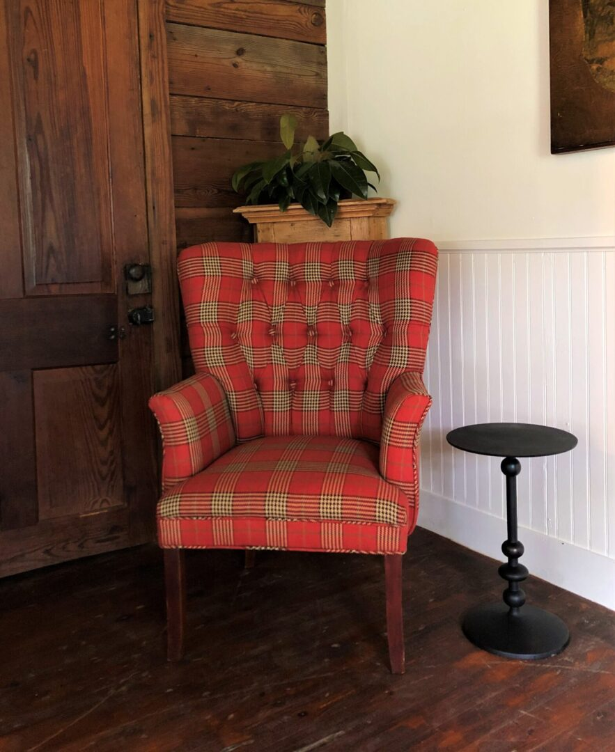 rustic red check tufted armchair, Serenata Farm in Madison, GA