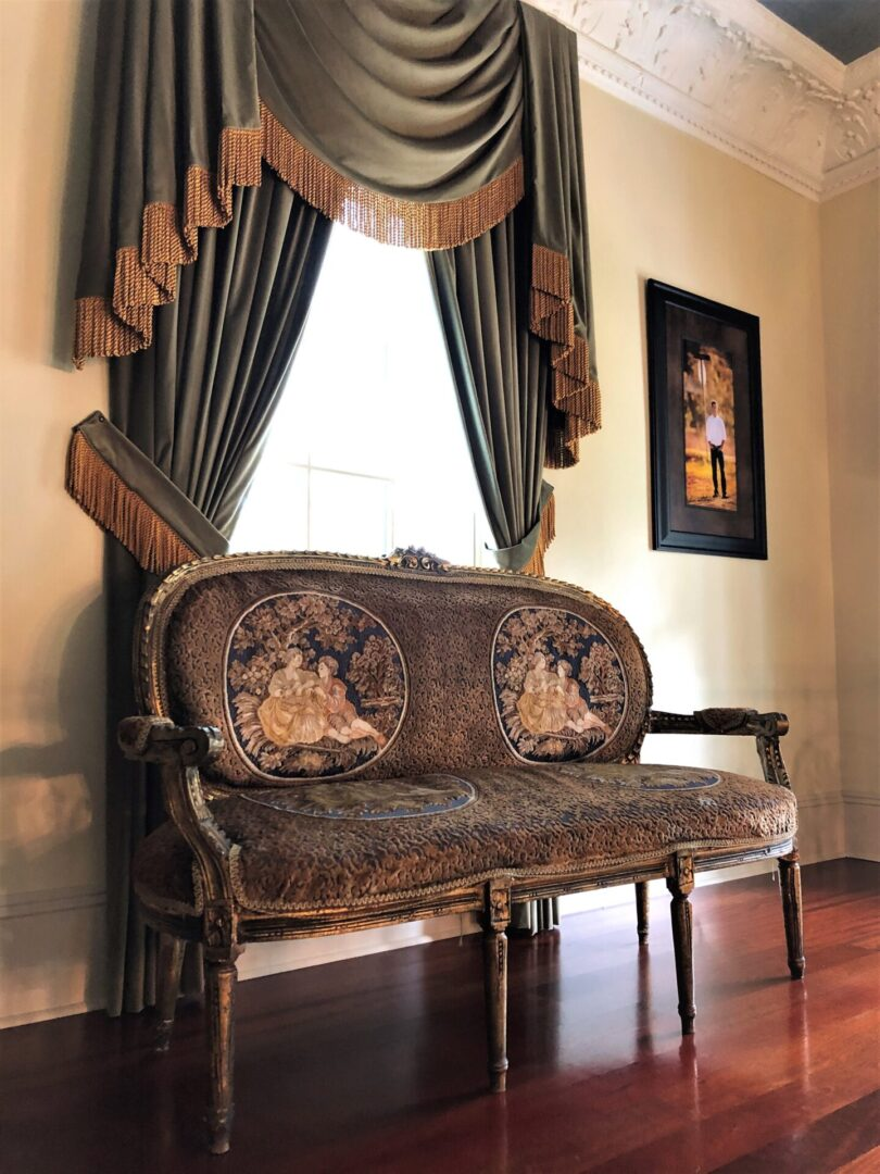 fabric antique bench, curtains at events venue, Serenata Farm in Madison, GA
