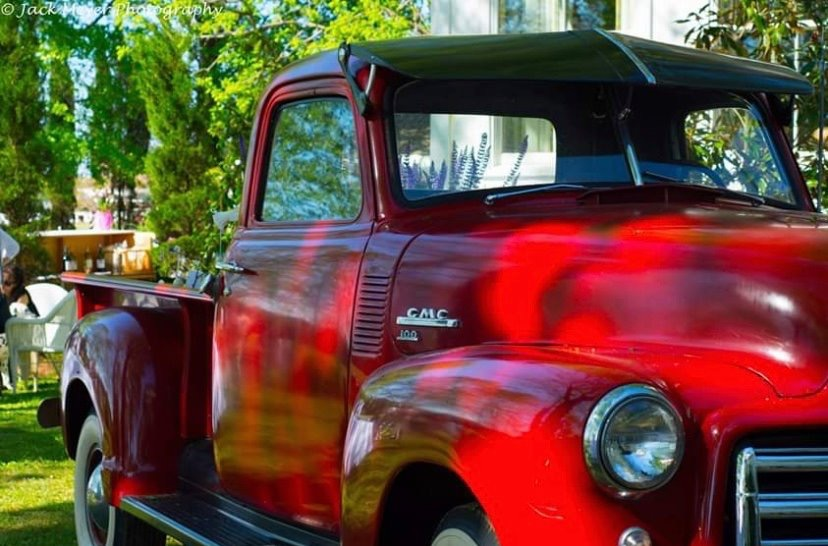 red vintage car at Serenata Farm in Madison, GA