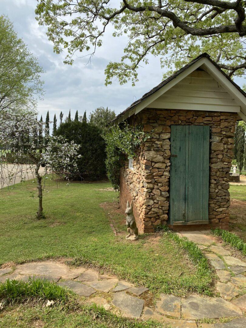 small stone shed at Serenata Farm in Madison, GA